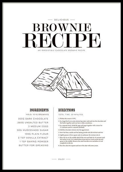 Poster mit Brownie-Rezept, Küchenposter - #Rezept #printanle #kitchen #Inspiration #Wandgestaltung #Bild