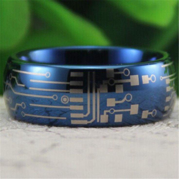 Circuit Board Design Men's Promise Rings