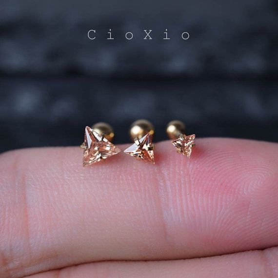 cartilage earring tragus earring 16g cartilage piercing by CioXio                                                                                                                                                                                 More