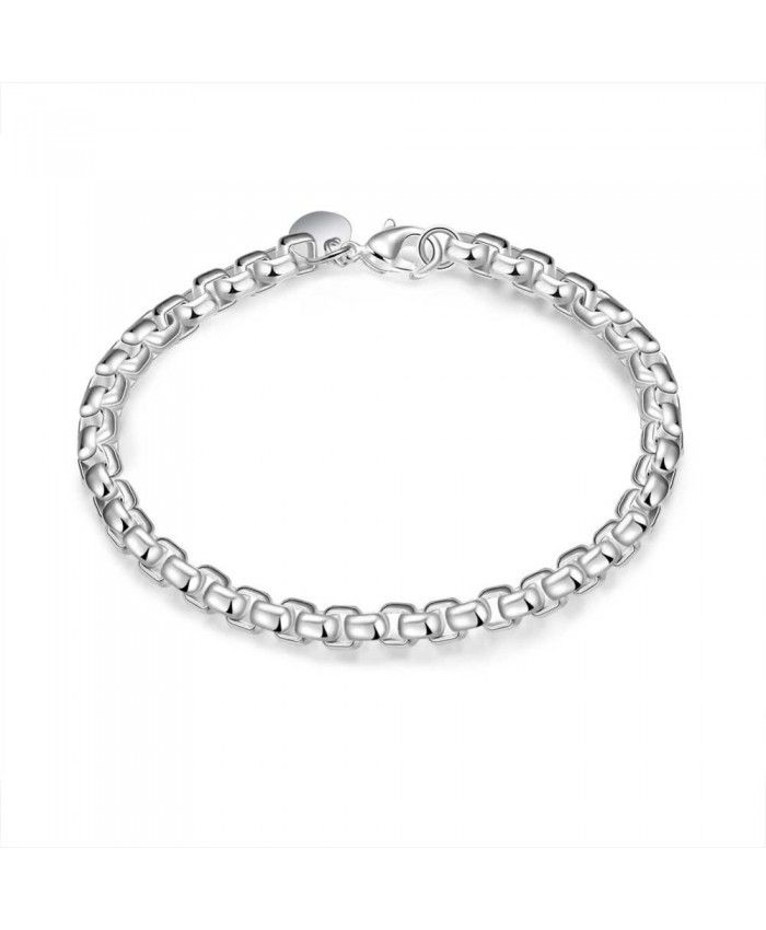 All-Purpose Style Simple 925 Silver Plaid Bracelet