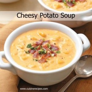 Cheesy Potato Soup | Recipe Devil. Obviously leave out the bacon and use vegetable broth instead of chicken.