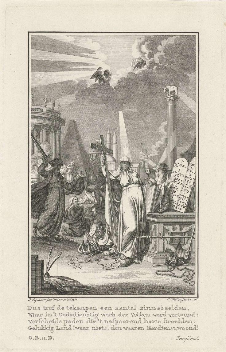 Caspar Jacobsz. Philips | Allegorie op het geloof, Caspar Jacobsz. Philips, Gerrit Brender à Brandis, 1781 | De personificatie van het geloof (Fides), met een kruis en een miskelk in de handen, haar voet op de pauselijke tiara. Boven haar hoofd wakkert een vlam, symbool van de goddelijke inspiratie. Een man wijst haar op de tafelen der wet. Een monnik met een masker bespiedt haar en lacht besmuikt. Op de achtergrond een offeraltaar, een piramide, een moskee en een kerk. Een heiden wil het…