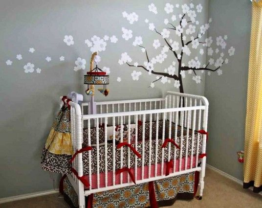 Baby Nursery, Give A Nice Welcome To The Newly Born With Cute Baby Nursery  Room Designs: Floral Wall Decor Cute Baby Nursery Design