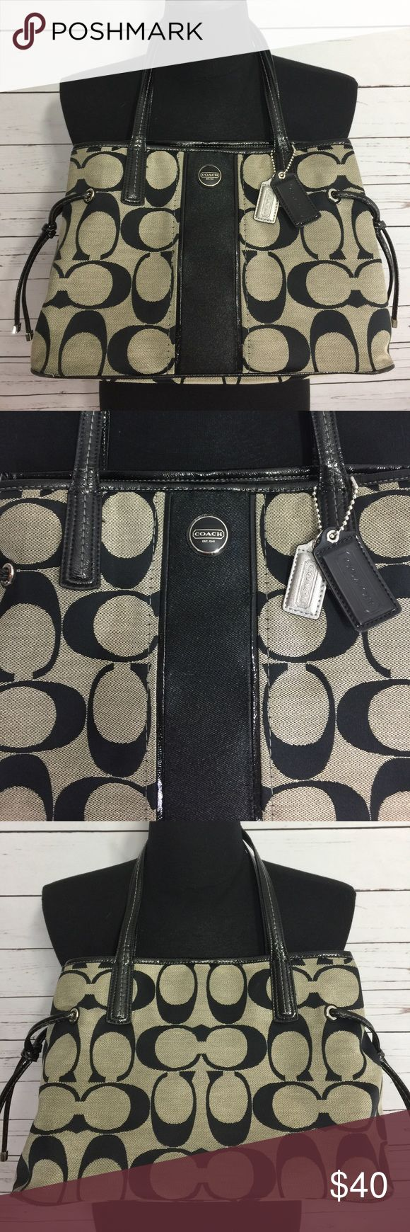 "Gray and Black Signature Coach Satchel Purse Great used condition gray and black signature coach satchel purse. Purse has minor wear but is clean. Smoke-free home. 14 inches wide 9.5"" deep. Double handles. Coach Bags Satchels"