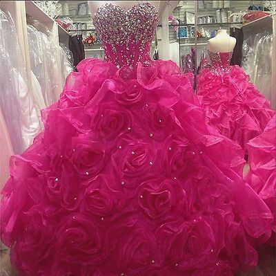 Hot-Pink-Crystals-Rose-Organza-Prom-Ball-Gown-Quinceanera-Dresses-for-15-Years