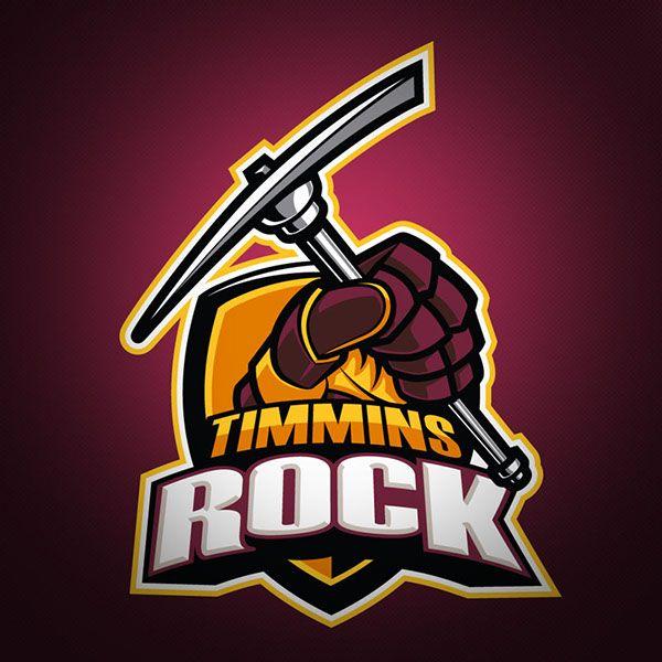 "Timmins Rock - Junior ""A"" Hockey Club Logo on Behance - American Logo Sport Theme"