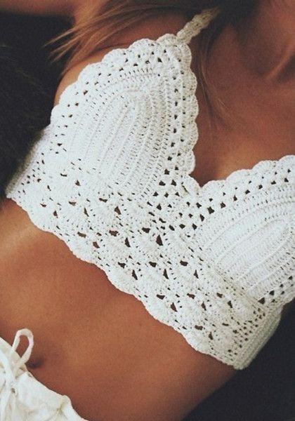 Pretty white crochet top.