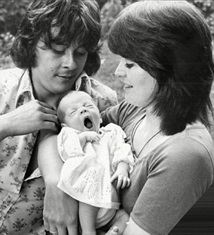 Family photo, 1974.  L to R: Richard Beckinsale, Kate Beckinsale, Judy Loe.  Richard Beckinsale and Judy Loe were popular British TV actors whose daughter Kate was born in 1973.  Richard was making the transition from TV to film actor in the late 1970s when he died of a massive heart attack in 1979.
