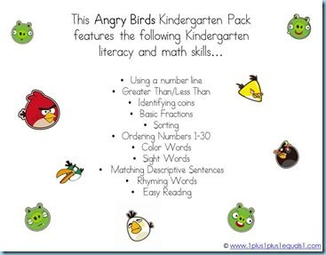 Angry Birds Kindergarten Printables {free}
