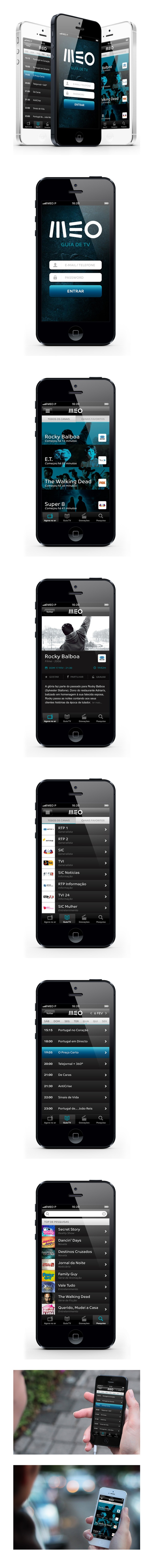 MEO Tv Guide App Concept by Guilherme Costa, via Behance *** Concept iPhone APP of a TV Guide service for MEO, a portuguese IPTV operator with more than 750.000 clients