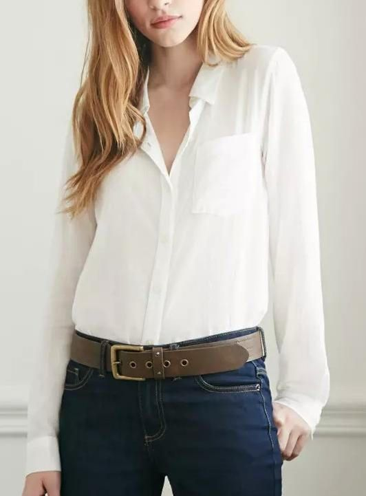 Plain White Long-Sleeve Buttons Collared Chiffon Blouse With Pocket from IDEOLOGY.
