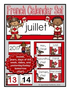 French calendar set for July, in a Canada Day theme!