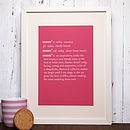 Personalised Mum Dictionary Definition Print