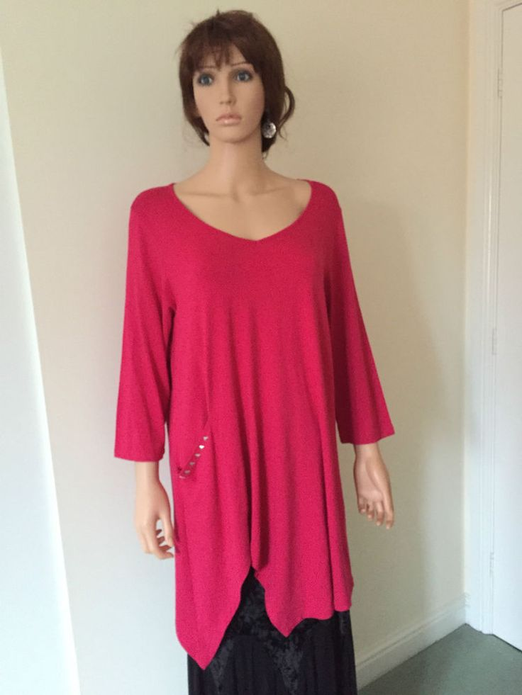 Tunic Top by Kasbah in a beautiful Fuscia/Cerise Colour -Lagenlook, Asymmetrical