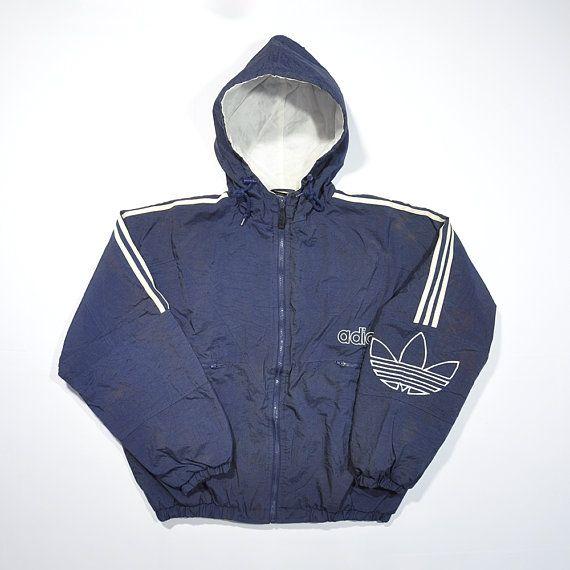 Rare Vintage 90s ADIDAS Hip Hop Bomber Coat Jacket Retro