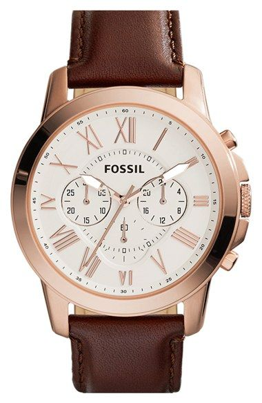 Fossil 'Grant' Round Chronograph Leather Strap Watch, 44mm available at #Nordstrom