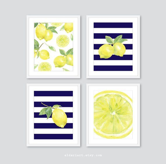 Lemon Prints Fruit Wall Decor Lemon Kitchen Wall Art Lemon Etsy Lemon Kitchen Decor Lemon Decor Yellow Kitchen Decor