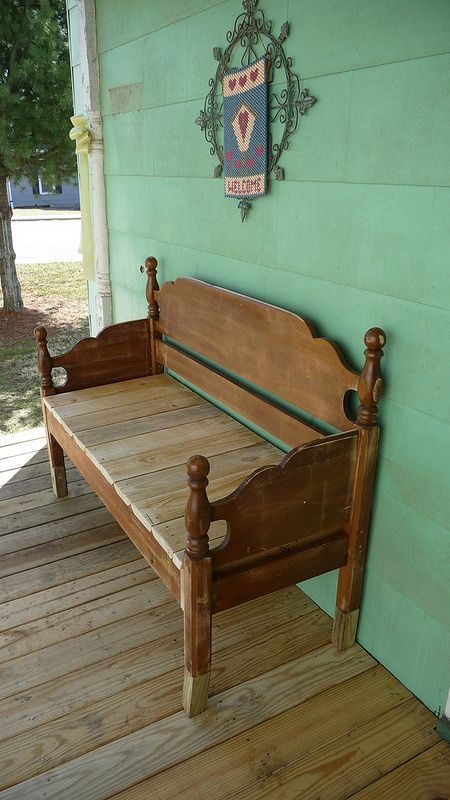 I made this bench out of a headboard and some scrap lumber that I had.  I am not carpenter but I like it!