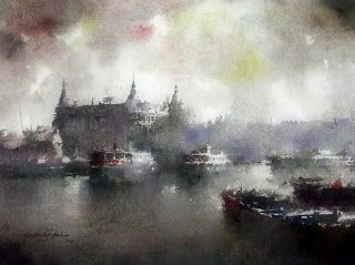 Watercolor by  Orhan Gürel