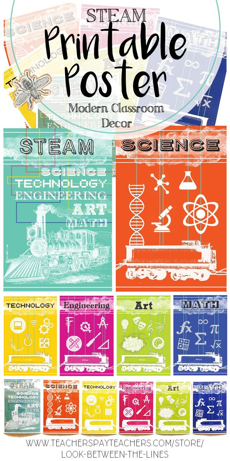 I love modern, bright classroom decor. These easy to print posters cover the acronym, STEAM. The pack includes six posters: a general STEAM worksheet, science, technology, engineering, art, and math. #steam #science #technology #art #engineering #math #teacher #education #poster #printable