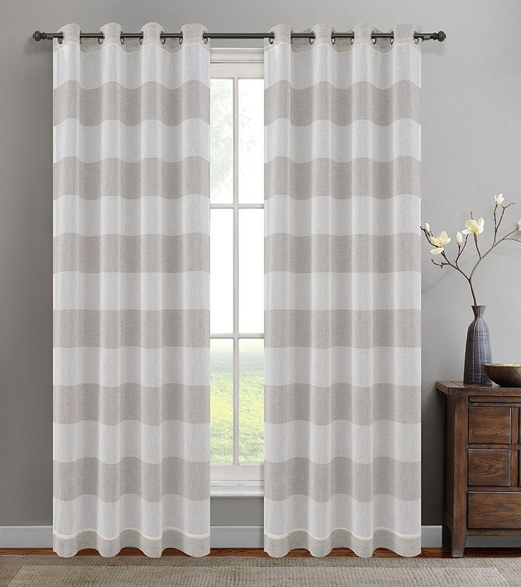 Urbanest 54-inch by 96-inch Set of 2 Nassau Faux Linen Sheer Striped Curtain Panels with Grommets, Oyster * Find out more about the great product at the image link. (This is an affiliate link and I receive a commission for the sales)