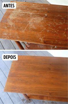 Mesa de madeira riscada: Misture ½ copo de vinagre com ½ copo de azeite de oliva e passe na mesa. Os riscos desaparecem e a superfície vai parecer nova.                                                                                                                                                                                 Mais