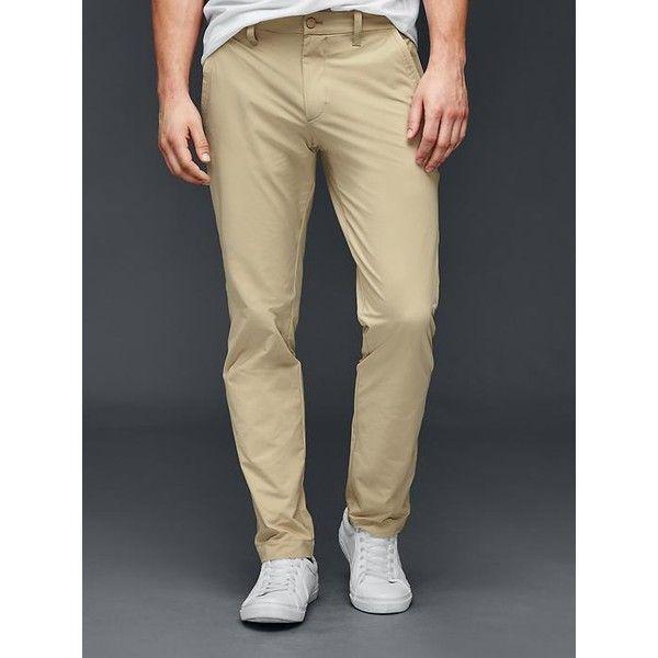 Gap Men Performance Slim Fit Khakis ($65) ❤ liked on Polyvore featuring men's fashion, men's clothing, men's pants, men's casual pants, iconic khaki, tall, mens zip off pants, mens stretch pants, mens slim fit pants and gap mens pants