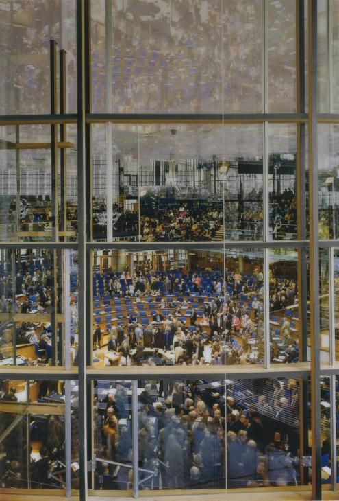 Andreas Gursky 'Parliament', 1998 © Courtesy Monika Sprueth Galerie, Koeln / VG Bild-Kunst, Bonn and DACS, London 2015. Contemporary photographer often uses large format camera to capture his epic large scale images. Beautiful colour & detail.