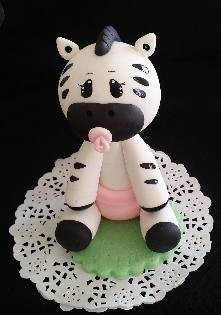 Baby Zebra Cake Topper, Safari Themed Baby Shower, Zebra Cake Topper, Baby Zebra With Diaper and Picifier Cake Decorations #cakedecoratingtutorials