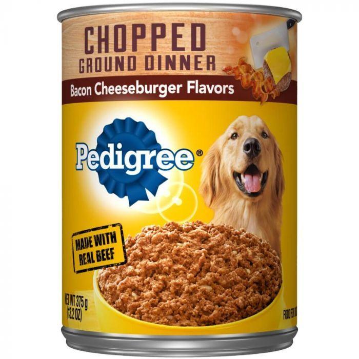 Pedigree Chopped Ground Dinner Wet Dog Food Bacon Cheeseburger