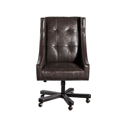 Gordon Leather Tufted Desk Chair in Brown