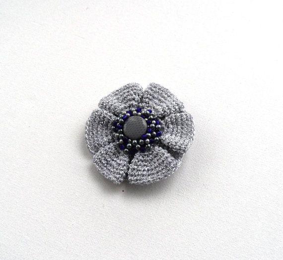 Crochet Brooch Silver Brooch Beaded Brooch от CraftsbySigita