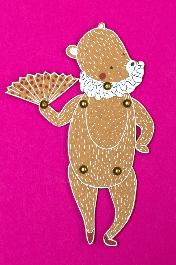 Dancing bear girl - articulated craft-paper doll with brads