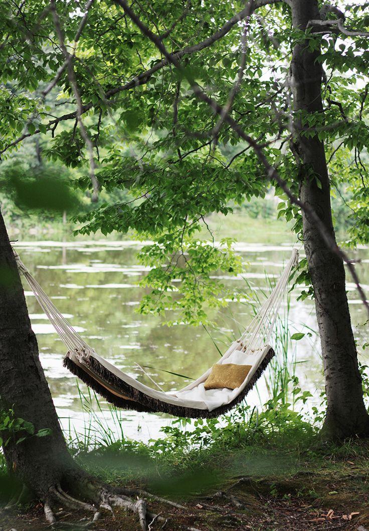 Hammock, river, shade, book, nap.