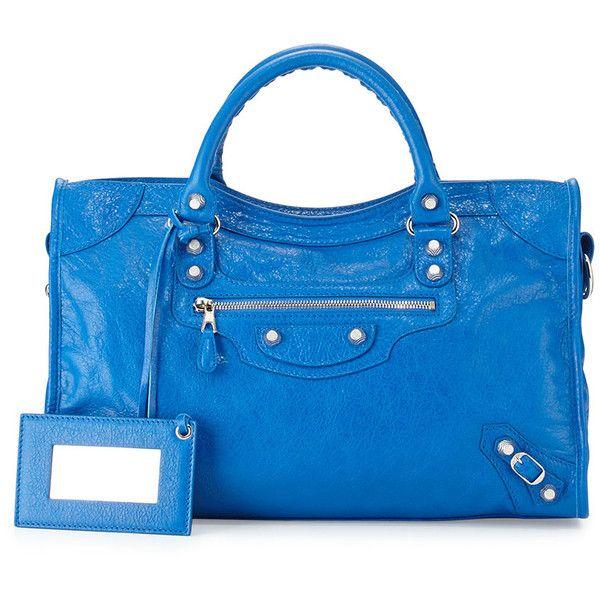 Balenciaga Giant 12 City Bag (€1.855) ❤ liked on Polyvore featuring bags, handbags, blue, balenciaga handbags, blue leather tote, blue leather purse, genuine leather handbags and leather purse