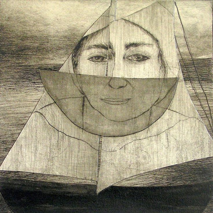 Deborah Perrow - Wise woman - collaged drypoint etching - 'Sea Stories' 14 May to 7 June 2015, Strathnairn Arts