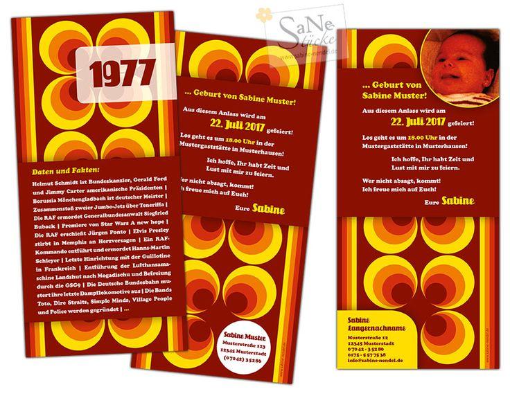 Siebziger Jahre Einladungskarte zum Geburtstag für alle, die 1977 geboren sind, im Retro-Stil!