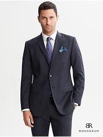 BR Monogram navy plaid wool two-button suit blazer
