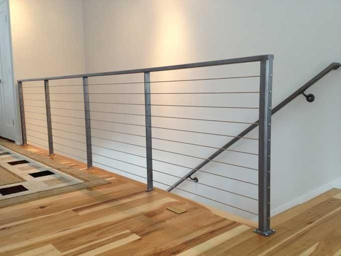 Custom Interior Cable Railing With 3 16 Stainless Steel Cables And Iron Framework Cable