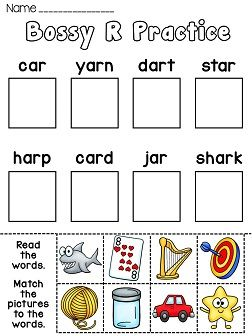 Bossy R worksheets that make R controlled vowels fun! Cut and paste words with the AR sound. Also comes in black and white kids can color!