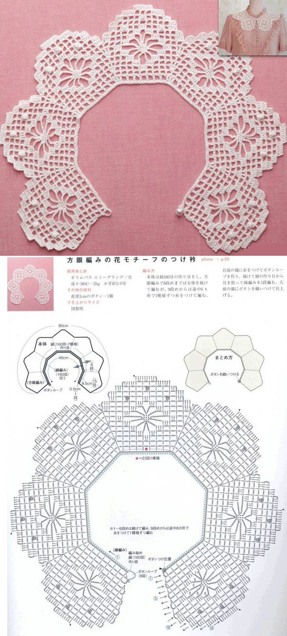 Воротничок с жучками крючок схема..A pretty crochet collar with schema!