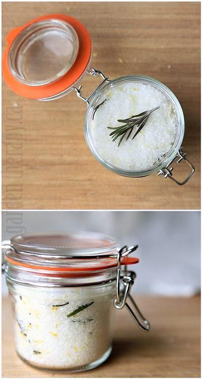 Rosemary Lemon Sea Salt - make this by heating salt and adding herbs and lemon rind. Easy to make but tastes great when adding to finished dishes, especially roasted vegetables!