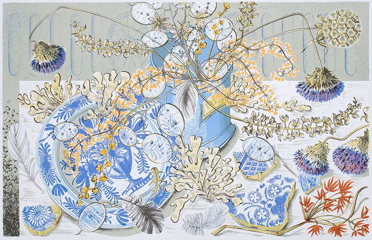 Angie Lewin, Lithograph, Honesty Blue