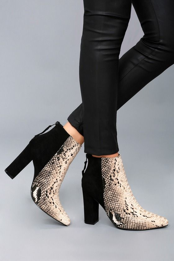 Tiffany Nude and Black Snake Print Ankle Booties 5