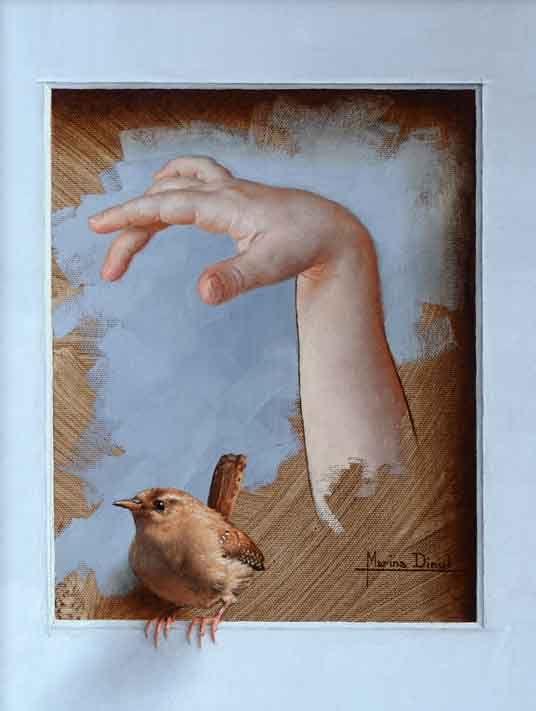 Trompe l'œil Oiseau dans la Main