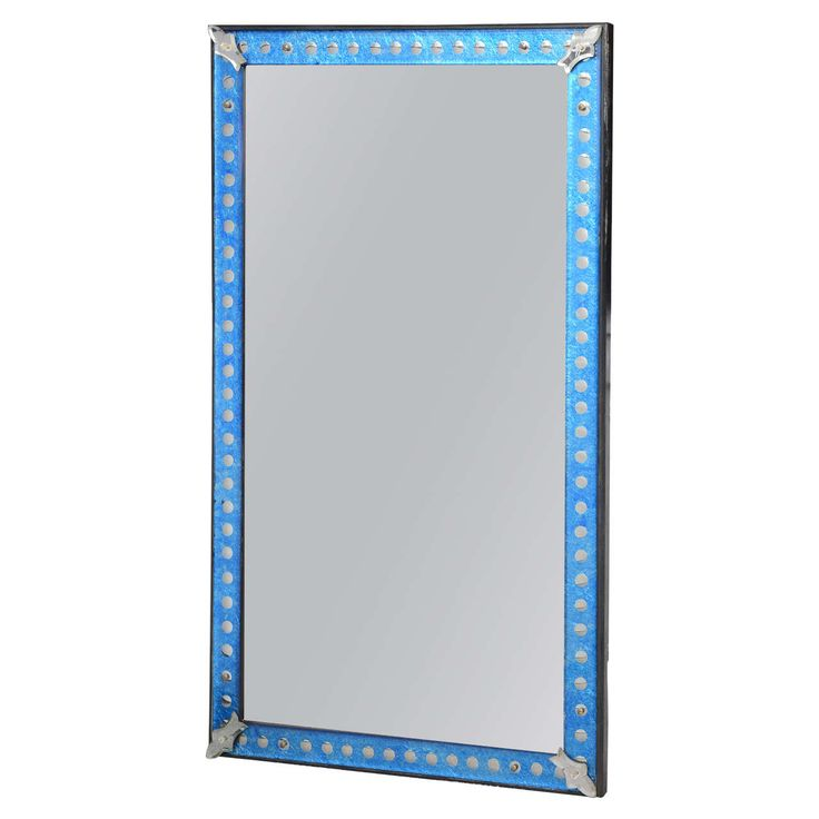 Blue Glass Frame Midcentury Mirror with Silver Dots All Around | From a unique collection of antique and modern wall mirrors at https://www.1stdibs.com/furniture/mirrors/wall-mirrors/
