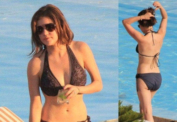 Here we see Actress and Singer Lucy Hale, wearing a bikini ...