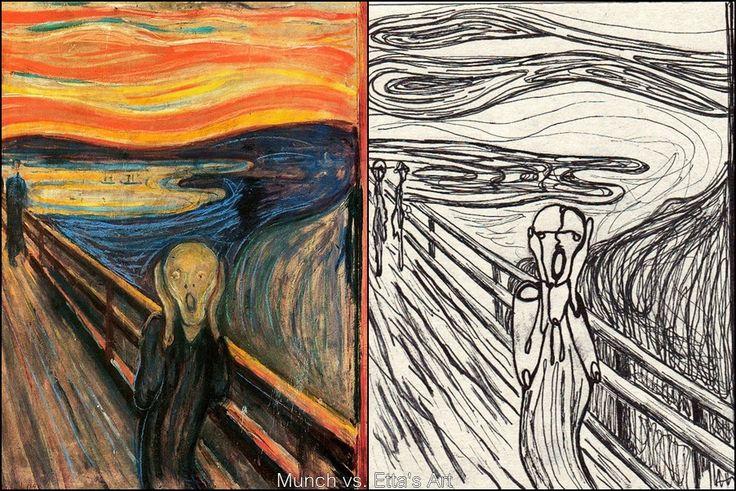 Munch vs. Etta's art...my take on this famous painting.#munch #art #blackpen #ettasart