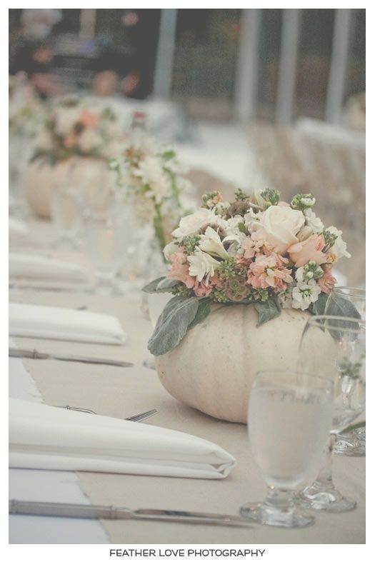 Fall decor....for table...white pumpkins w floral centerpiece inside.