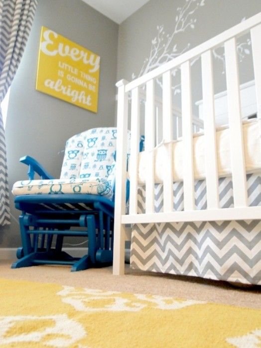 Gray, turquoise, and yellow nursery